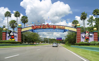 Theme park entrance sign