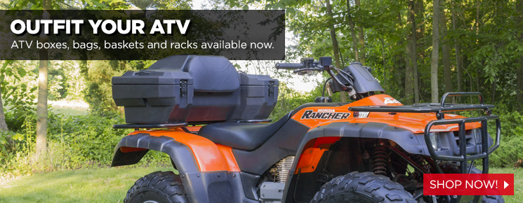 Outfit your ATV with boxes, bags, baskets and more!