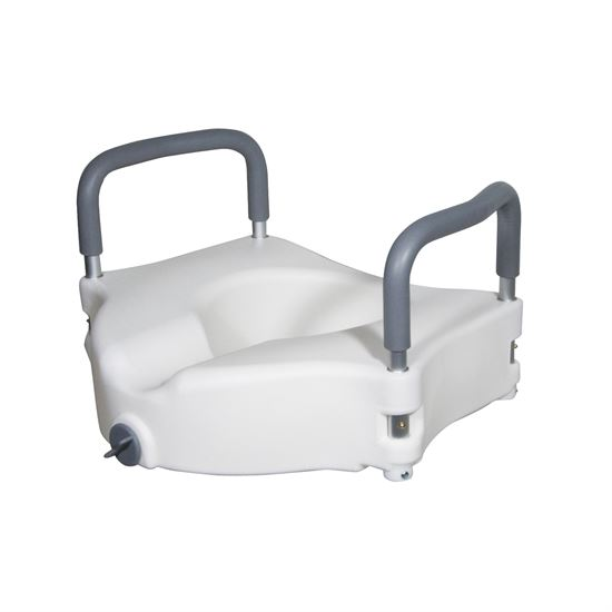 Elevated Raised Toilet Seat with Removable Padded Arms, Standard Seat