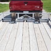 Kafe double wheel chock set up in a trailer