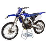 Black Widow aluminum  motocross stand holding a dirt bike