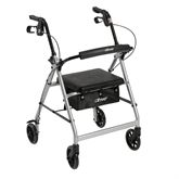 "Walker Rollator with 6""  Wheels, Fold Up Removable Back Support and Padded Seat, Black"
