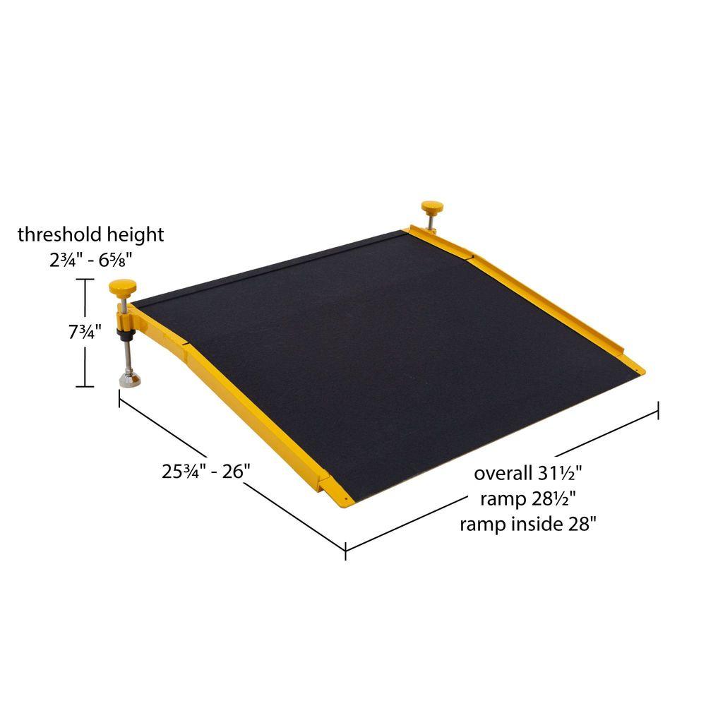 Silver Spring Aluminum Adjustable Solid Threshold Ramp - 400 lb Capacity