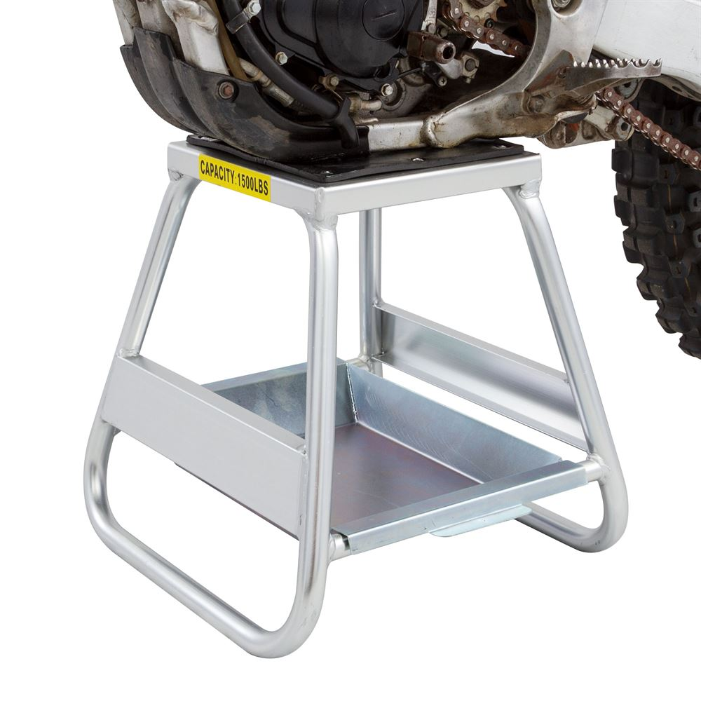 Close up of a dirt bike on the aluminum MX stand