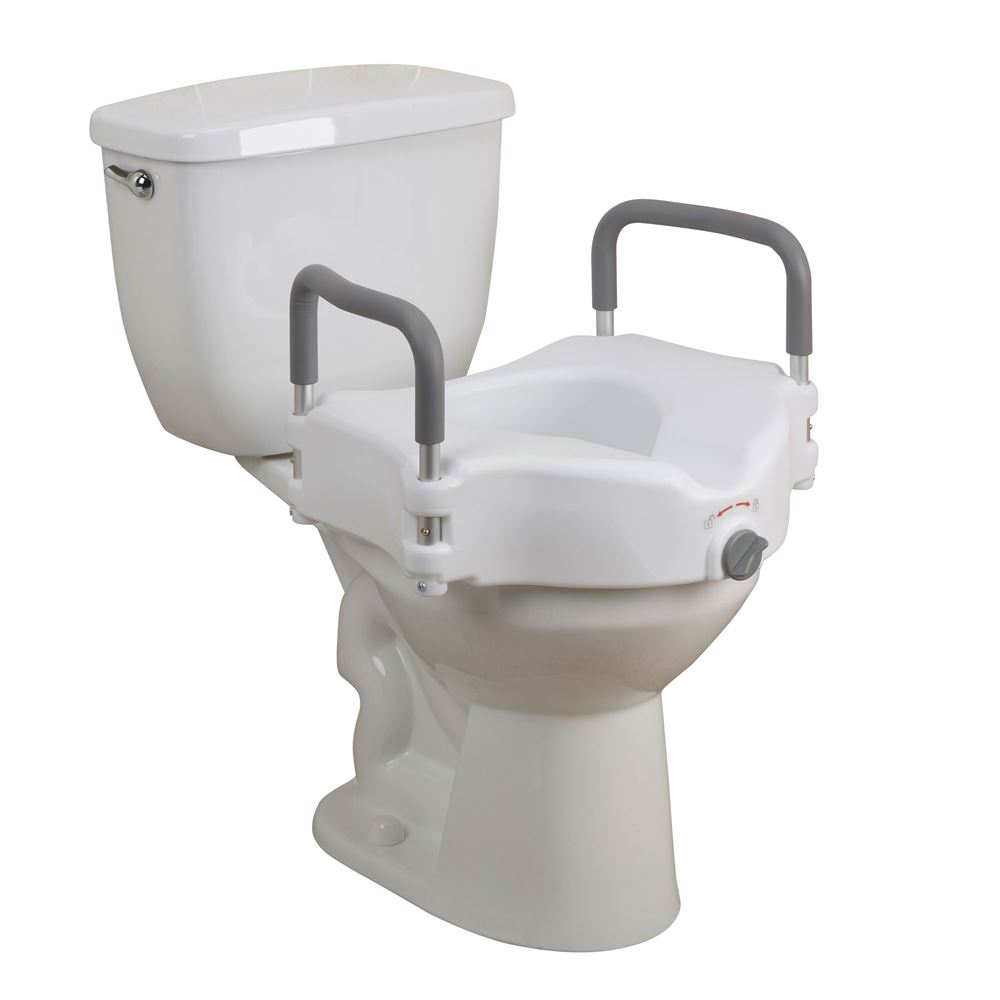 Drive medical elevated raised toilet seat w padded arms for Toilet seat