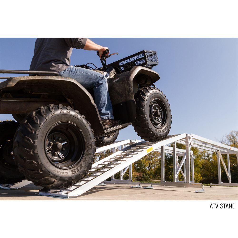 Loading an ATV onto the ATV Maintenance Stand