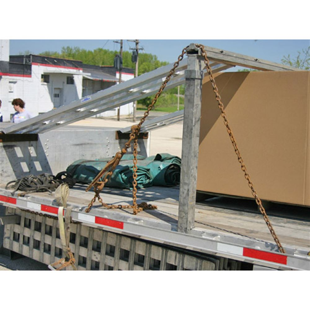 Stake pocket supports for car ramps on step deck trailers